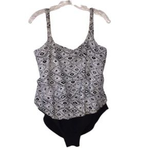 Size 16 Island Pearls Swimsuit, 1 PC Black & White